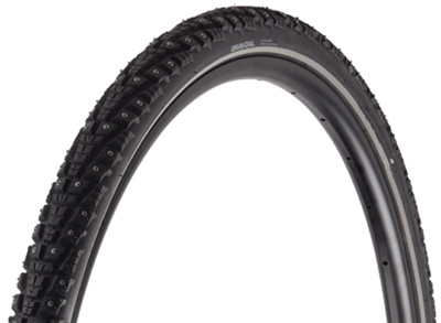 Studded tires are great for winter riding, especially when you don't KNOW what the surface is under the snow.