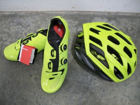 Available to order, limited edition hyper green Prevail Helmet, S-Works Shoes as well as socks are part of this EXTREMELY limited collection.