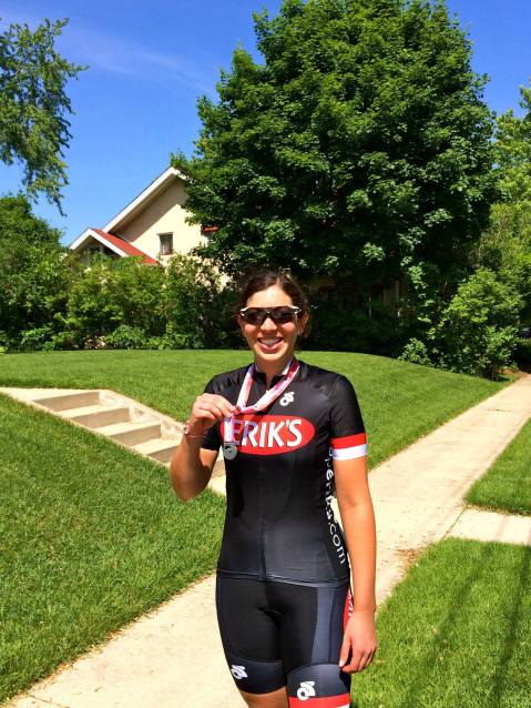 Erik's Regional Race Team Member Maya shows her medal from the Women's Open field at the WI State Crit Championships.
