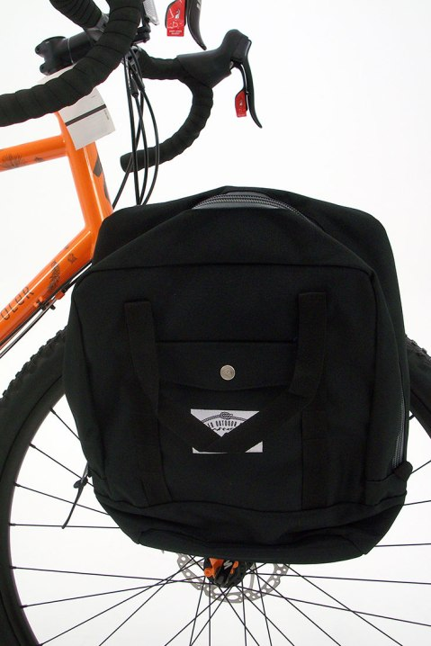 The limited edition AWOLxPoler edition comes with a front rack and Poler panniers