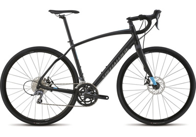 With the same great aluminum frame as the Elite, the Diverge base has the same great tire clearance and ride quality with Shimano Claris dirvetrain and Tektro Spyre disc brakes.