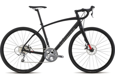 The Aluminum Diverge Elite features a FACT carbon fork with a standard QR, Shimano Tiagra drivetrain and Tektro Spyre mechanical brakes.
