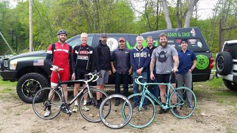 Adam and Zach with Erik Saltvold and staff from Bianchi show off their new Intensos